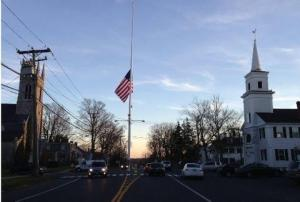 The iconic Newtown Flagpole - right in the center of town. Flag at half staff in memory of those who lost their lives today...